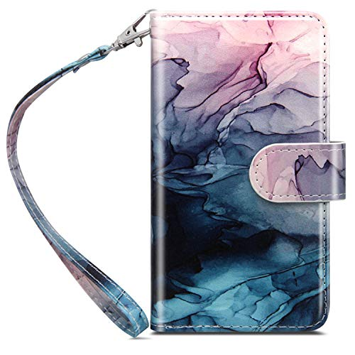 Dailylux iPhone 8 Case,iPhone 7 Wallet Case,Premium PU Leather+TPU Inner Shell Flip Case with 9 Card Slot Luxury Cover for Apple iPhone 7 (2016) / iPhone 8 (2017) Women/Girls,Ink Watercolor