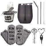 Jodimitty Bicchieri da vino in acciaio inox, tazza da caffè da viaggio isolata sottovuoto, con coperchio, set regalo per donne con cannuccia, calze, apribottiglie e scritta tedesca
