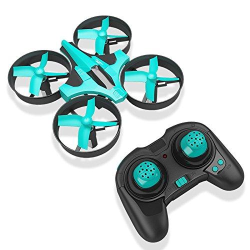 HobbyLane Mini Drone pour Enfants, Quadricoptère UFO télécommandé à 2,4 GHz, Quadricoptère RC en Mode sans tête à 6 Axes gyroscopiques et à Del (Bleu Tiffany)