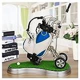 Crestgolf Piel Sintética Golf Cart, Chariot De Golf,Soporte para Solígrafos con Forma de 3 Golf Gear Bolígrafos and de Plástico Estera de Césped-Blue