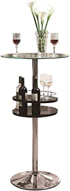 Coaster Home Furnishings Bar Table with Tempered Glass Top and Storage, Black