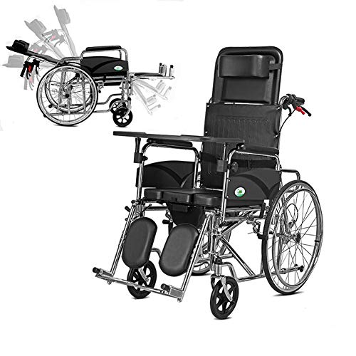 L-LIPENG Rollstuhl für äl tere und Behinderte Menschen Selbstfahren aus Stahl Leichtgewicht Pflegerollstuhl mit Liegefunktion Beinstütze Kopfstütze Sitzbreite 65 cm