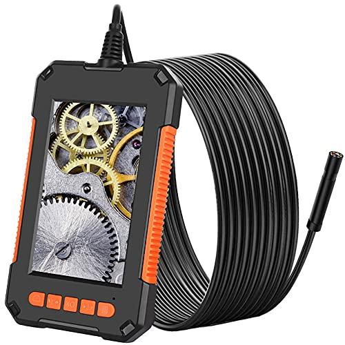 Endoscopio Industrial, Cámara de Inspección 3,9 mm Borescopio de 1080P HD Pantalla de 4,3 Pulgadas, Endoscopio impermeable IP67 con luces LED, Cable Semirrígido, Tarjeta TF de 32 GB (8mm, 5M)