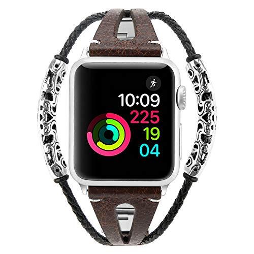 Blu Eminence Cinturino in Pelle Compatibile con Apple Watch Band 40 mm/38 mm, Sottile, Elegante, Cinturino di Ricambio da Donna per iWatch Serie 4/3/2/1, Design con Fessure Traspiranti