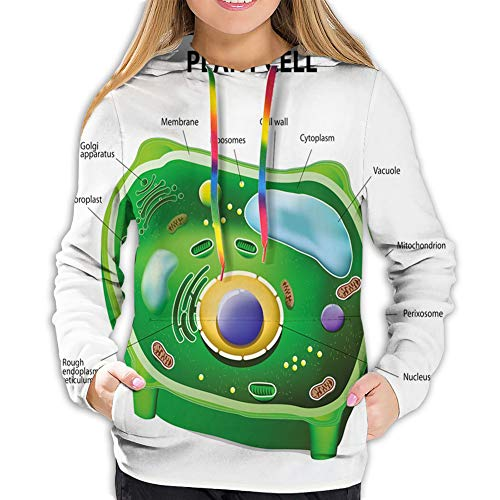 LUOBOGAN Women's Hoodie Sweatshirt,Plant Cell Biology Research Botany Anatomy Structure Organic Life Nature,S