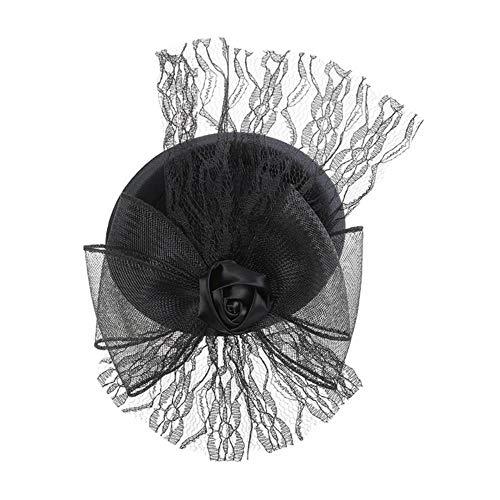 FHKGCD Maille Plumes Bibi Chapeaux Morning Glory Pince À Cheveux Femmes Chapeau Haut De Forme Chapeau De Fête Accessoires pour Cheveux Chapeau, A,