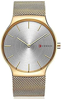 Curren 8256 Men's Sports Waterproof Stainless-Steel Strap Analog Display Wrist Watch - Gold