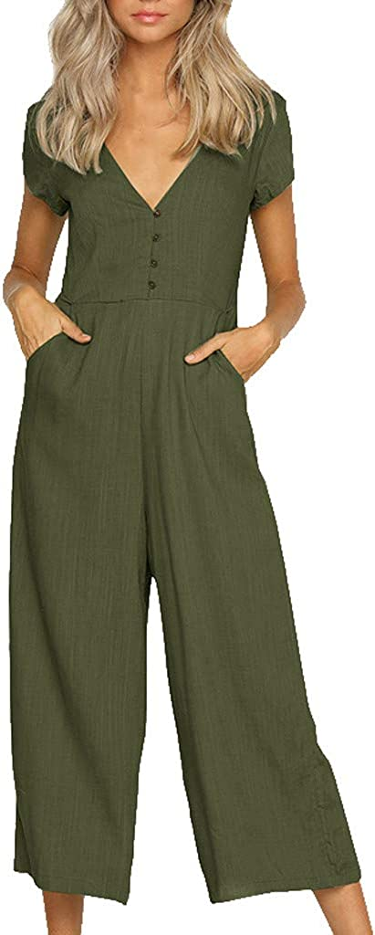 PAPIYON Women's Linen Jumpsuits with Pockets Sexy V Neck Button Down Short Sleeve Overalls Solid Color Rompers for Women