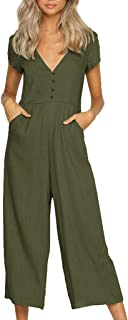 Juesi Women's Jumpsuit, Casual V Neck Solid Wide Leg Romper with Pocket Summer Playsuit