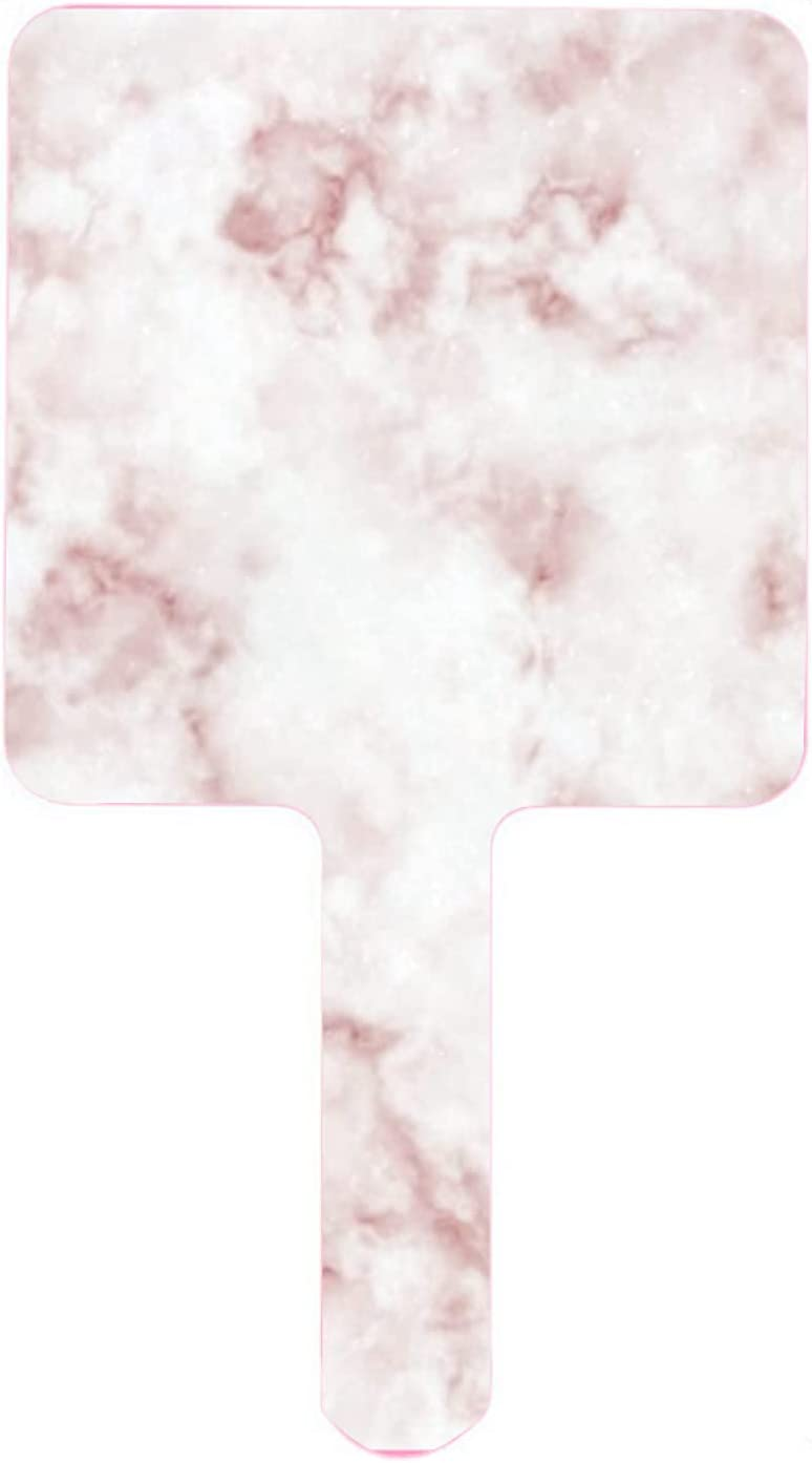 Today's only Hand Great interest Mirror Pink Rose Gold Marble Texture Handheld Small M Stone