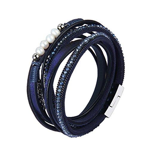 F Fityle Leder Wickelarmbänder Legierung Perlen Teile mit Glanz Strass Armband für Damen - Blau