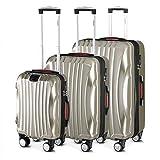 Monzana Set de 3 valises rigides Ikarus M/L/XL Champagne - Port USB - Vacances Voyage