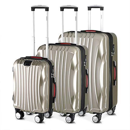 Monzana® Ikarus 3er Set Koffer Champagner M, L, XL USB TSA Schloss Reisekoffer Trolley Kofferset Rollkoffer