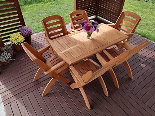 STOLLDREW Gartenset Lamel X 1 Hochwertige Tischgruppe und Sitzgruppe, Kiefer Massivholz Gartenset, Klappbare Gartenmoebel aus Holz, Gartentisch mit 6 Klappzstuhl (Teak)