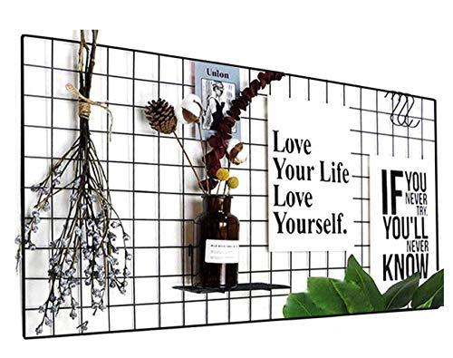 WJSX Grid Wall,DIY Eisen Gitter der Fotowand,Bilderwand Pinnwand Foto Wand,Dekoration Pinnwand Foto,Memo Hängen in der Familie, Küche, Büro und so weiter (Schwarz, 40 x 80 cm)