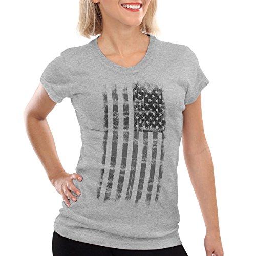 style3 USA Vintage Flagge T-Shirt Damen US United Staates, Farbe:Grau meliert, Größe:XL