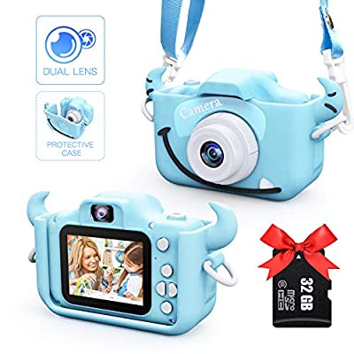 TONDOZEN Kids Camera,Digital Dual Camera 2.0 Inches Screen 20.0MP 1080P Video Camcorder Anti-Drop Children Cartoon Selfie Camera Toys for Gift - 32GB Memory Card Included from Sinohrd