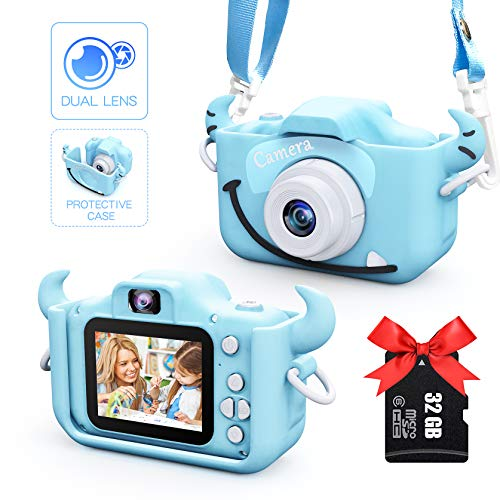Kids Camera for Boys and Girls, Digital Dual Camera 2.0 Inches Screen 20.0MP 1080P Video Camcorder Anti-Drop Children Cartoon Selfie Camera Toys for Gift - 32GB Memory Card Included