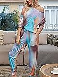 Charm4you Conjunto de Pijama de Manga Corta Tie-Dye,2020 Pijamas caseros de Manga Larga con Efecto Tie-Dye Degradado para Mujer-Galaxy Blue_XL,Tie-Dye Conjunto de Pijama Mujer