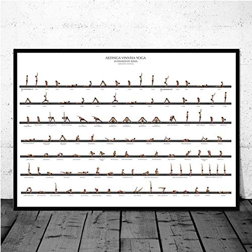 VGSD® Ejercicio Gym Print Poster Yoga Ashtanga Chart Pose Health Canvas Nordic Painting Wall Art Picture para Dormitorio Decoración para El Hogar 45X60Cm