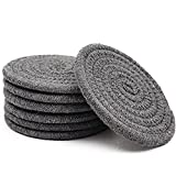 Absorbent Drink Coasters Handmade Braided Drink Coasters 6 Pack (4.3 Inch, Round, 8mm Thick) Super Absorbent Heat-Resistant Coasters for Drinks Great Housewarming Gift (Dark Gray, 6 Pack)