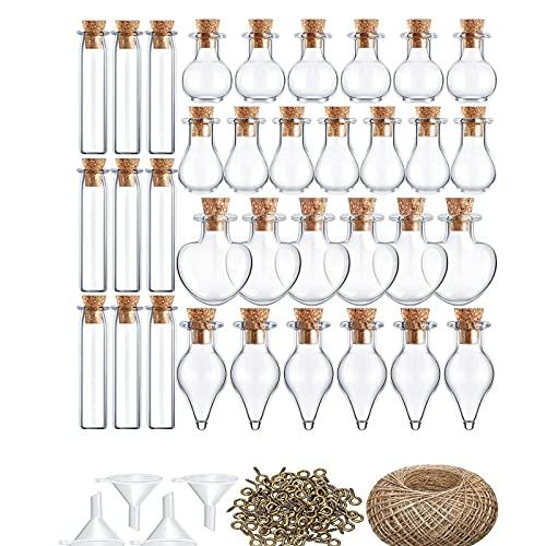 50 botellas de deseos, mini botellas de vidrio, botellas de 15 x 10 x 6 cm, con cuerda de 30 m y otros accesorios para arena especias sales, regalos decoración de boda