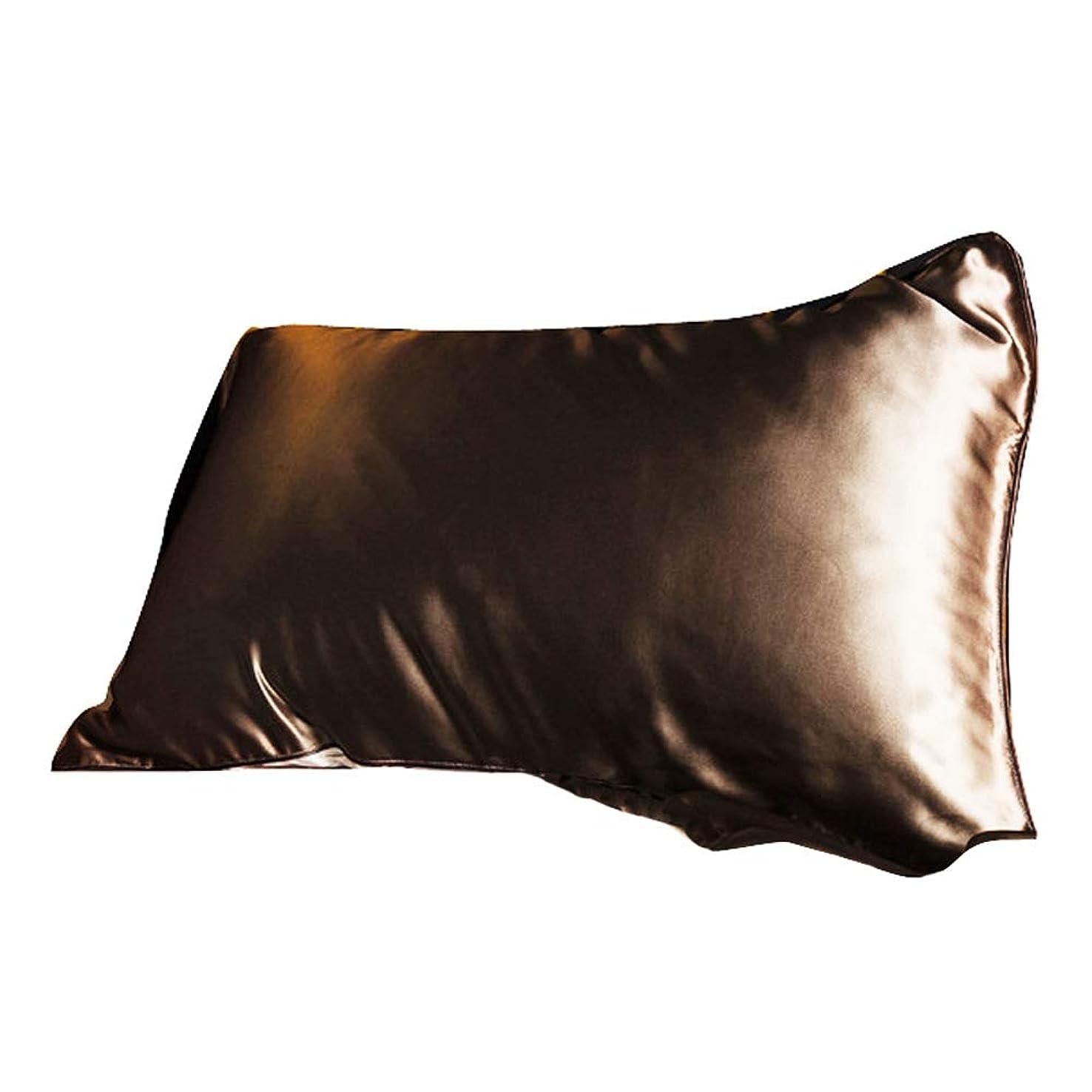 ブレースけがをするバンドGaorui(ガオルイ) 枕カバー 100%シルク 19匁 まくらカバー 柔らかい 美肌 美髪 肌に優しい シンプルスタイル 48x74cm 8色選べる ブラウン