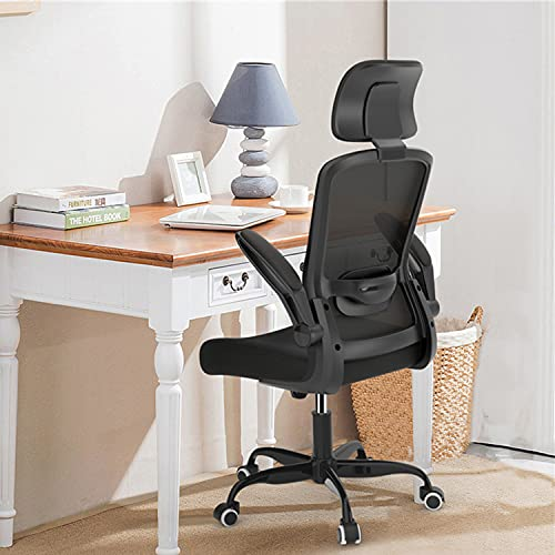 Home Office Chair, Ergonomic Office Chair with Adjustable Headrest and Lumbar Support, High Back Computer Desk Chair with Thickened Cushion and Flip-up Armrests, Black