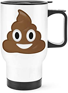 Poo Poop Emoji Travel Mug Cup With Handle Funny Face Thermal Flask