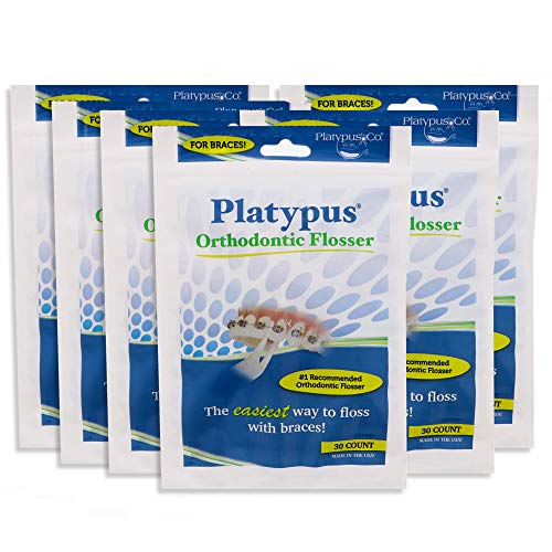 Platypus Orthodontic Flossers for Braces - Unique Structure Fits Under Arch Wire, Floss Entire Mouth in Less than Two Minutes , Increases Flossing Compliance Over 84% - 30 Count Bag- Pack of 6