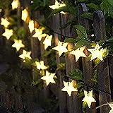 Lichterkette Außen Solar, FANSIR 7M Solarlichterkette Außen Wetterfest 8 Modi Solar Lichterkette Stern Garten für deko hochzeit balkon terrassen outdoor weihnachtsdeko 50 LEDs(Warmweiß)