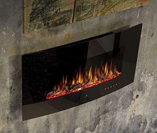Noble Flame Detroit 900 – gewölbter Elektrokamin Wandkamin Kamin-Ofen – inkl. Elektroeinsatz mit Heizfunktion - Ambiente-Wandbeleuchtung - schwarz