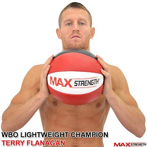 Maxstrength - Palla medica, in pelle, resistente, per fitness, palestra ed esercizi, 8 kg 10 kg 12 kg 15 kg, Red   Black, 12 kg
