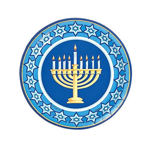 Fun Express - Happy Hanukkah Dinner Plates (8pc) for Hanukkah - Party Supplies - Licensed Tableware - Licensed Plates & Bowls - Hanukkah - 1 Piece