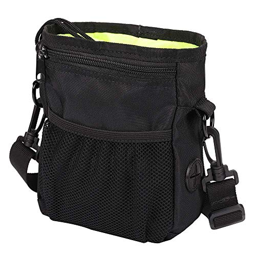 HANWELL Dog Treat Pouch with Built-in Poop Bags Dispenser, Hand-Free Pet Training Bags Pocket with Adjustable Waist Belt and Shoulder Strap for Running Carry Food and Toys–Black