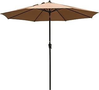 Sundale Outdoor 10 Ft Sunbrella Canopy Patio Market Umbrella Garden Aluminum Umbrella with Crank and Auto Tilt, taupe