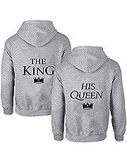 Daisy for U 1 stuk hoodieset King Queen pullover voor twee capuchontrui voor koppels, Valentijnsdag, partnerlook, liefdespaar, koppels, Mr Mrs capuchontrui