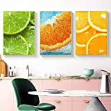 JIAJIFBH Arte de Pared Abstracto 3 piezas50x70cm sin Marco Frutas Coloridas Arte de la Pared Manzana Fresca Naranja Fresa Imagen Cartel de Cocina Moderno Decoración del hogar
