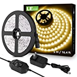 Lighting EVER LED Strip Light White, 16.4Ft Dimmable Vanity Lights, 3000K Super Bright LED Tape Lights, 300 LEDs SMD 2835, Strong 3M Adhesive, Suitable for Home, Kitchen, Bedroom, Warm White