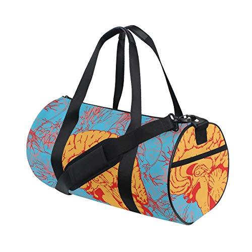 HARXISE Bolsa de Viaje,Cerebro Humano penetrado por el gráfico artístico de Las comunicaciones neuronales,Bolsa de Deporte con Compartimento para Sports Gym Bag
