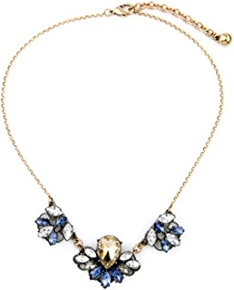 Three Glass Rhinestone Crystals in Clear Blue Champagne Multi Color Pendant Statement Necklace 17''