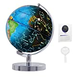 Wizdar 8' LED Illuminated Globe for Kids, 3 in 1 Interactive Educational World Globes with Stand, Colorful Earth Globe with Political Map, Constellation Globe STEM Toy, Desk Light Up Globe Lamp Decor