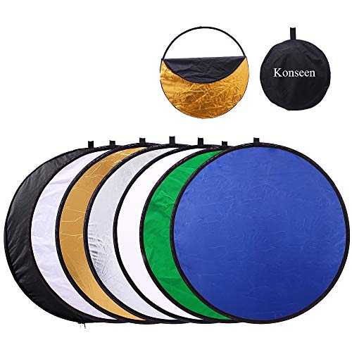 12 inch 30cm Round Collapsible Mini Light Reflectors for Photography 7in1 Portable Sun Reflector for Studio Multi Photo Disc WhiteBlueGreenGoldSilverand Black