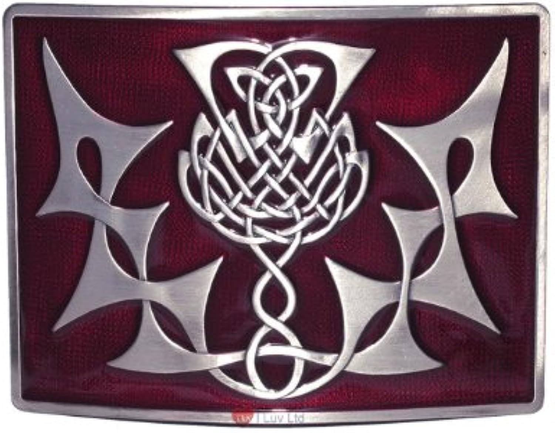 Highland Thistle Kilt Belt Buckle Red Antique