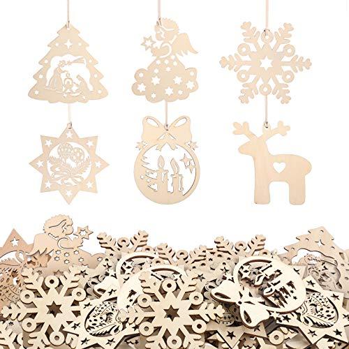 KATELUO 60 Pezzi Natale Ciondolo in Legno, Decorazioni Albero di Natale in Legno, Ornamenti Natalizi in Legno da Appendere per la Casa, Feste, Festival, Decorazioni Natalizie Fai da Te
