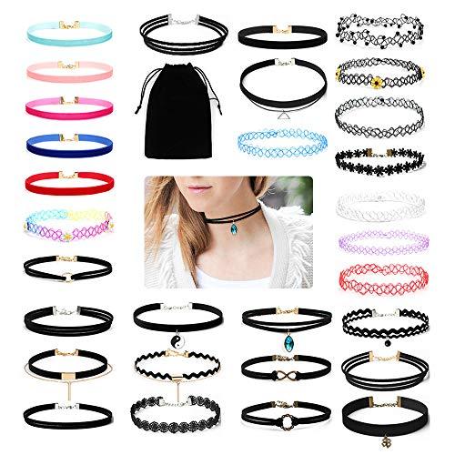 30Pcs Classic Collier Set Cool Schwarz Samt Spitze Halskette Gothic Tattoo Henna Choker Band Halsband Halsbänder für Frauen Teen Mädchen–Verstellbar