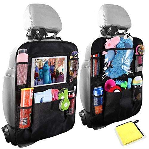Car Organisers,Car Back Seat Organiser for kids,Car Seatback Protector with 10inch Tablet Holder,Backseat Kick Mats Cover with 5 Storage Pockets,Car Accessories for Family Road Trip(2pack)