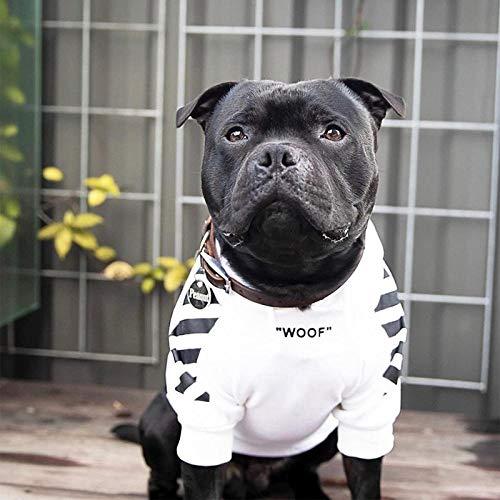 Ybyifs Haustier Hundekleidung für französische Bulldogge Adidog Streifenmuster Hund Hoodie Haustier Hund Kleidung Hundejacke für französische Bulldogge(Weiß,2XL)