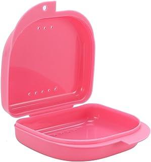 Healifty リテーナケースマウスガードケース通気孔と蝶番付きフタ付きピンク色のリテーナ収納容器(ピンク)