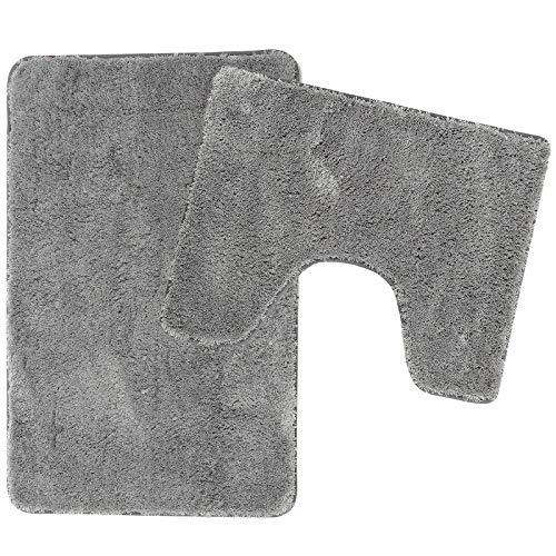 Poligono Juego de alfombrillas de baño de 2 piezas de microfibra, alfombra de 50 x 80 cm, alfombrilla para WC Water Forma rectangular 40 x 50 cm, antideslizante, lavable a máquina, gris
